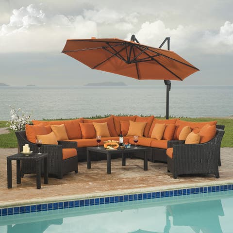 Orange Sectional and Club Set with Umbrella (9-piece)