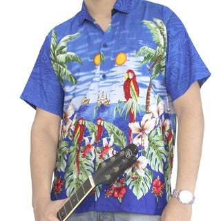 La Leela Likre Palm Tree Cruise Leafy Floral Beach Hawaiian Camp Button down Shirt Men Royal Blue