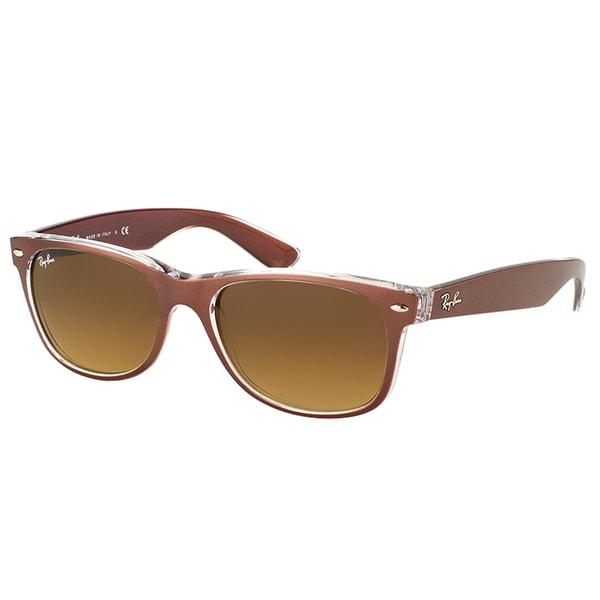 2160176e37f Ray-Ban New Wayfarer RB 2132 614585 Brushed Brown on Crystal Wayfarer  Plastic Sunglasses