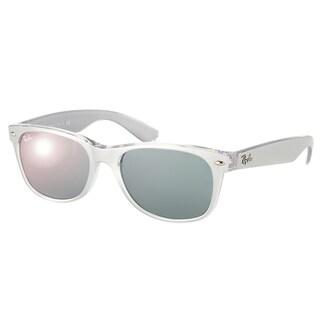 Ray-Ban New Wayfarer RB 2132 614440 Brushed Silver on Crystal Wayfarer Plastic Sunglasses