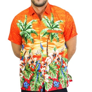 La Leela Likre Palm Tree Cruise Leafy Floral Hawaiian Camp Front Pocket Button Down Shirt Men Orange