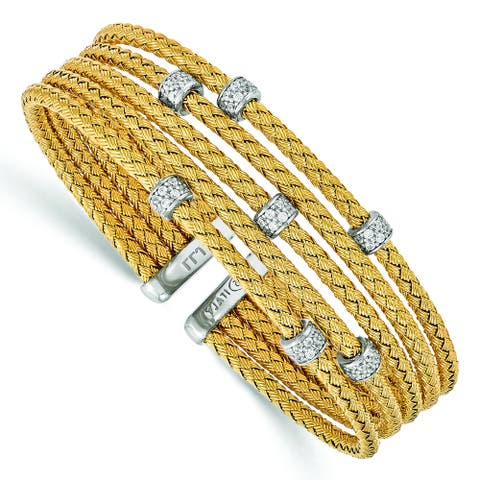 Sterling Silver Gold-tone Cubic Zirconia Woven Flexible Cuff by Versil