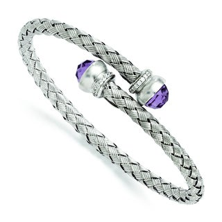 Versil Sterling Silver Amethyst and Cubic Zirconia Braided Flexible Bangle