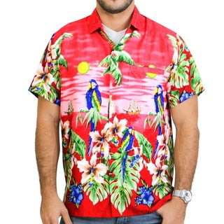 La Leela Soft Likre Palm Tree Parrot Casual Button Down Front Pocket Button Down Shirt Men Red