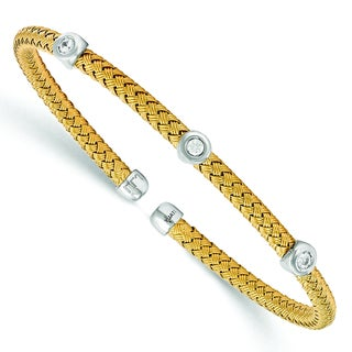 Versil Yellow Gold over Silver Cubic Zirconia Woven Flexible Cuff
