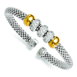 Versil 18k Gold over Silver Cubic Zirconia Flexible Bangle