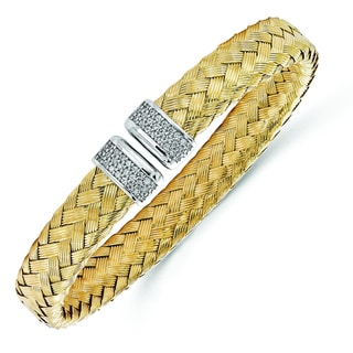 Versil Gold over Silver Cubic Zirconia Woven Flexible Cuff