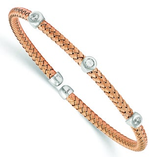 Versil Rose Gold over Silver Cubic Zirconia Woven Flexible Cuff