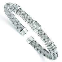 Versil Sterling Silver Cubic Zirconia Woven Flexible Cuff