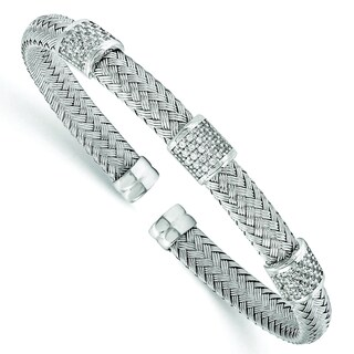 Versil Sterling Silver Cubic Zirconia Woven Flexible Cuff