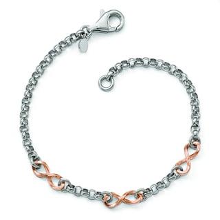 Versil Rose Gold over Silver Infinity Bracelet