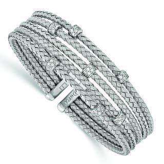 Versil Sterling Silver Cubic Zirconia Woven Flexible Cuff https://ak1.ostkcdn.com/images/products/11547889/P18492864.jpg?impolicy=medium