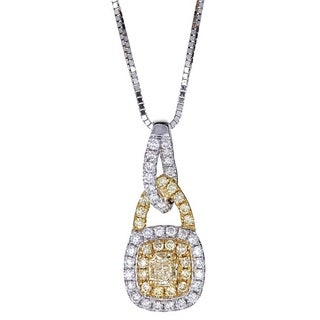 Anika and August 14k Two Tone Gold Natural Yellow Diamond Pendant