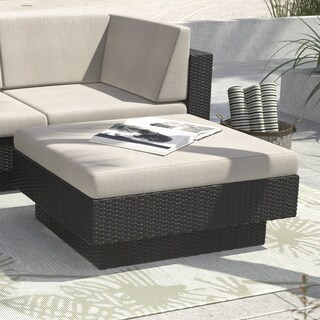 Sonax Park Terrace Textured Black Wicker Upholsterd Ottoman