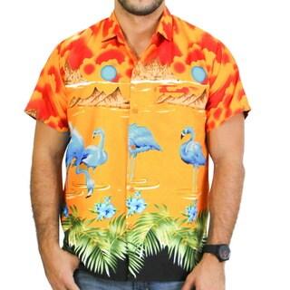 La Leela Likre Beach View Sun Cruise Flamingo Hawaiian Camp Shirt Men Bright Blue