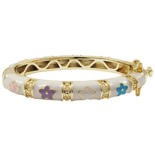 Luxiro Gold Finish White and Multi-color Enamel Flower Children's Bangle Bracelet