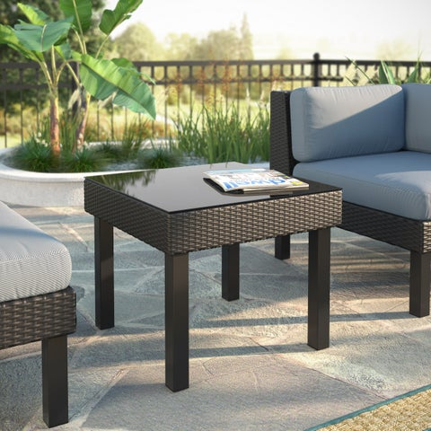 Oakland Textured Black Weave Patio End Table