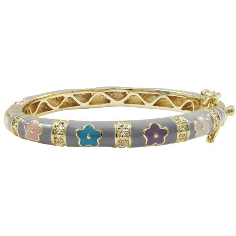 Luxiro Gold Finish Grey and Multi Enamel Flower Children's Bangle Bracelet - Pink