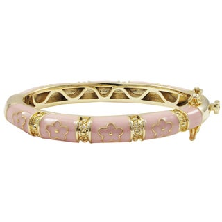 Luxiro Gold Finish Pink Enamel Flower Children's Bangle Bracelet