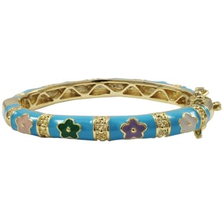 Luxiro Gold Finish Aqua Blue and Multi-color Enamel Flower Children's Bangle Bracelet