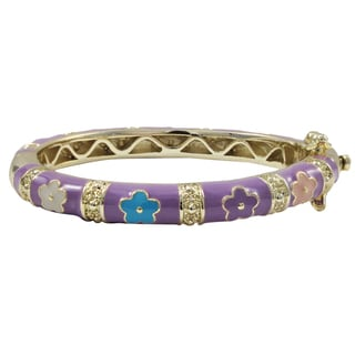 Luxiro Gold Finish Lavender and Multi-color Enamel Flower Children's Bangle Bracelet