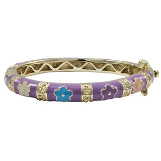 Luxiro Gold Finish Lavender and Multi-color Enamel Flower Children's Bangle Bracelet - Purple