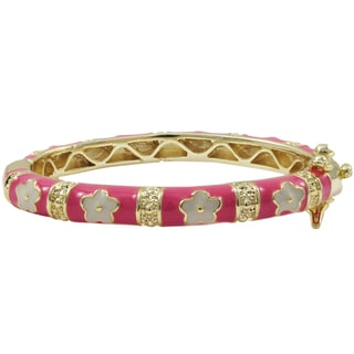 Luxiro Gold Finish Hot Pink and White Enamel Flower Children's Bangle Bracelet