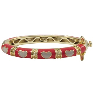 Luxiro Gold Finish Hot Pink and White Enamel Heart Children's Bangle Bracelet