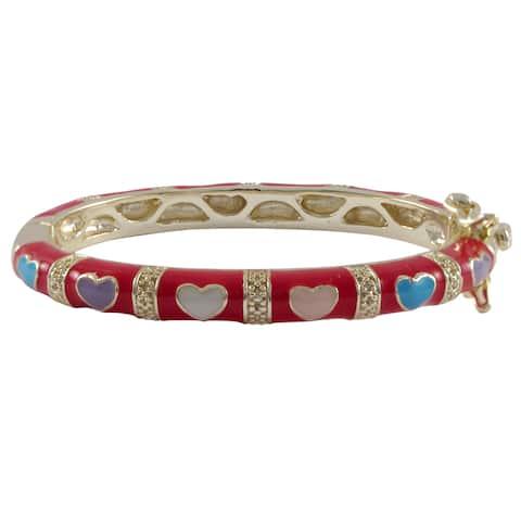 Luxiro Gold Finish Red and Multi-color Enamel Heart Children's Bangle Bracelet