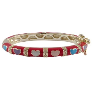 Luxiro Gold Finish Red and Multi-color Enamel Heart Children's Bangle Bracelet