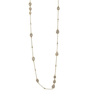 Luxiro Gold Finish Teardrop Cubic Zirconia Station Necklace