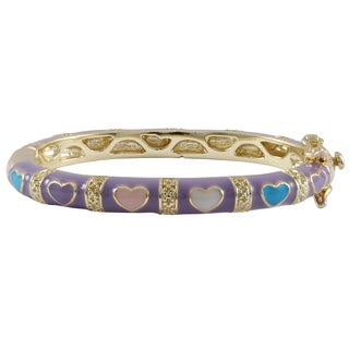 Luxiro Gold Finish Lavender and Multi-color Enamel Heart Children's Bangle Bracelet - Purple