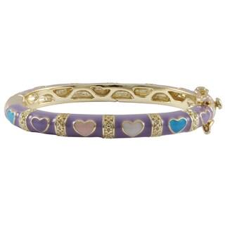 Luxiro Gold Finish Lavender and Multi-color Enamel Heart Children's Bangle Bracelet - Purple (4 options available)