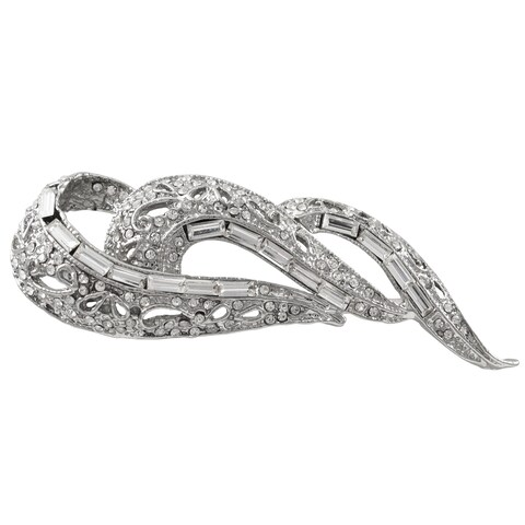 Luxiro Rhodium Finish Baguette Crystals Filigree Pin Brooch - Silver