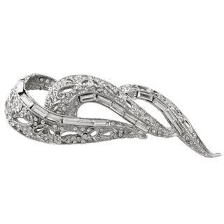 Luxiro Rhodium Finish Baguette Crystals Filigree Pin Brooch|https://ak1.ostkcdn.com/images/products/11547970/P18492924.jpg?impolicy=medium