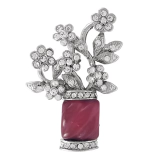 Luxiro Rhodium Finish Pink and White Crystals Flower Bouquet Pin Brooch