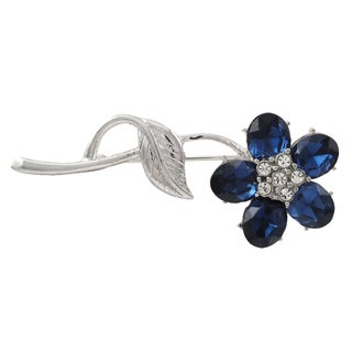Luxiro Rhodium Finish Blue and White Crystals Flower Pin Brooch