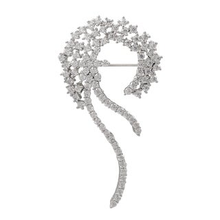 Luxiro Sterling Silver White Cubic Zirconia Spiral Pin Brooch
