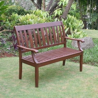 Como 4 Foot Wooden Bench with Dark Brown Finish
