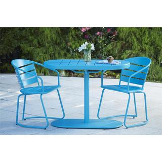 COSCO Blue Outdoor Steel Nesting Bistro Patio Set