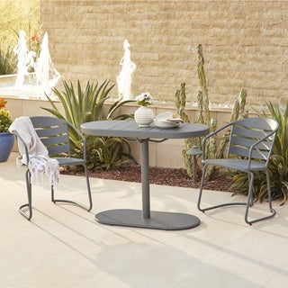 Avenue Greene Grey Outdoor Steel Nesting Bistro Patio Set
