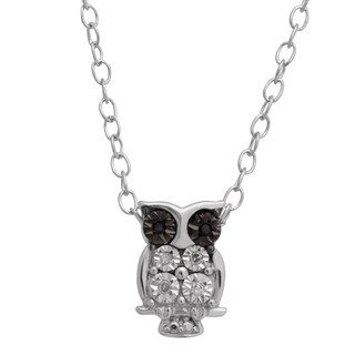 Teeny-Tiny Sterling Silver Black and White Diamond Accent Owl Pendant