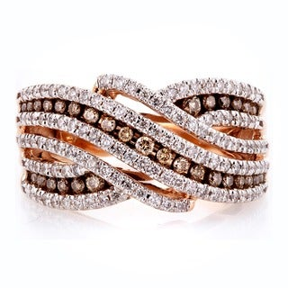 Annello by Kobelli 10k Gold 1ct TDW Brown and White Diamond Striped Multi Row Anniversay Ring (H-I, Brown, I1-I2)