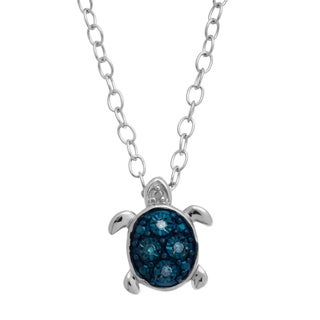 Teeny-Tiny Sterling Silver Blue Diamond Accent Turtle Pendant