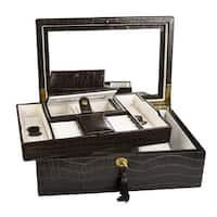 Ikee Design Luxury Jewelry Leatherette Jewelry Lockable Box. Espresso Brown Crocodile Pattern