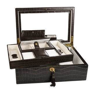 Ikee Design Luxury Jewelry Leatherette Jewelry Lockable Box. Espresso Brown Crocodile Pattern