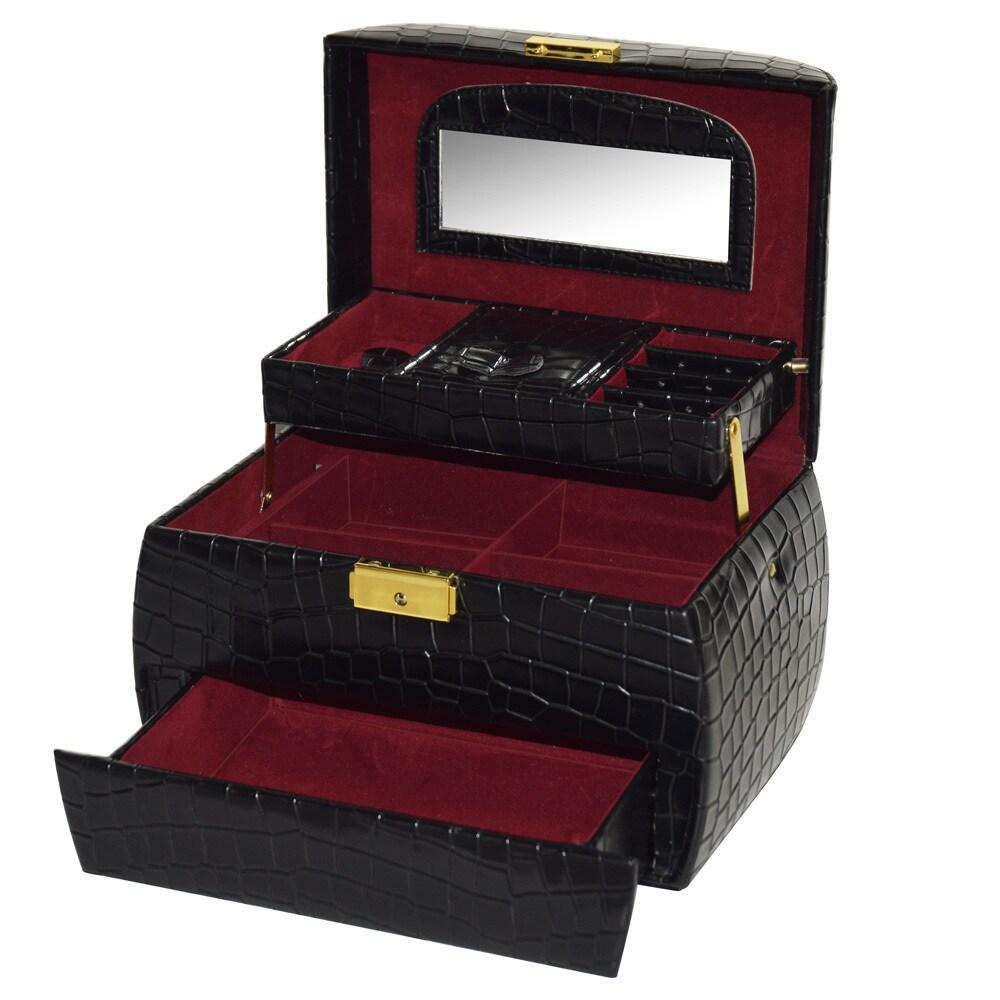 Ikee Design Leatherette Jewelry Box With Key Lock, Black