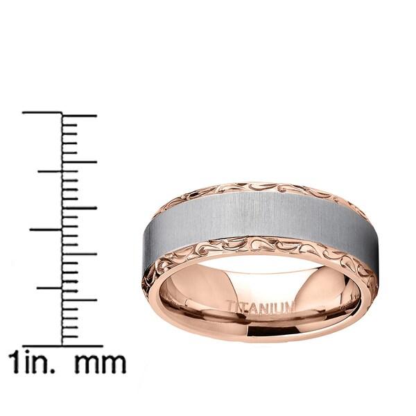 Oliveti Rose Gold Plated Titanium Hand-engraved Wedding Comfort-fit Band