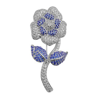 Collette Z Sterling Silver Cubic Zirconia Flower with Stem Pin - Blue