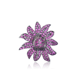 Collette Z Sterling Silver Cubic Zirconia Purple Burst Pin